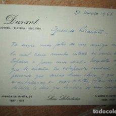 Manuscritos antiguos: MADRID JOYERIA DURANT PLATERIA RELOJERIA CARTA MANUSCRITA. Lote 155877154