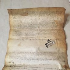 Manuscritos antiguos: (M) VENDRELL- REUS - ANTIGUO DOCUMENTO MEDIEVAL MANUSCRITO SONRE PERGAMINO - 40,5X31 CM. - ORIGINAL. Lote 203912427
