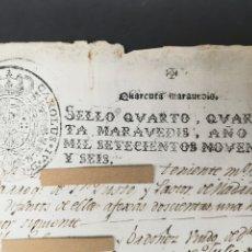 Manuscritos antiguos: TIMBROLOGIA. AÑO 1796. CARLOS IV. 40 MARAVEDÍS. SELLO CUARTO.. Lote 204080172