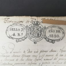Manuscritos antiguos: MANUSCRITO TESTAMONIAL. SELLO FERNANDO VII. S. XIX.AÑO 1830. SELLO DE TINTA Y EN RELIEVE.. Lote 204082323