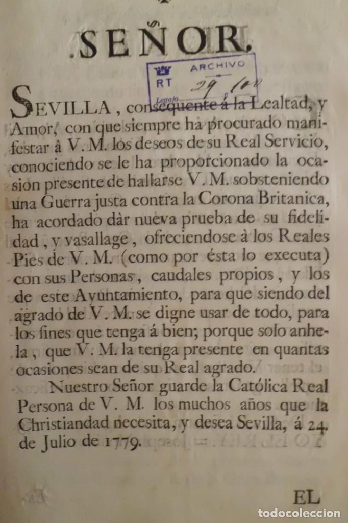 SEVILLA SE OFRECE A S.M. CON MOTIVO DE LA GUERRA CONTRA INGLATERRA, AÑO 1.779 (Coleccionismo - Documentos - Manuscritos)