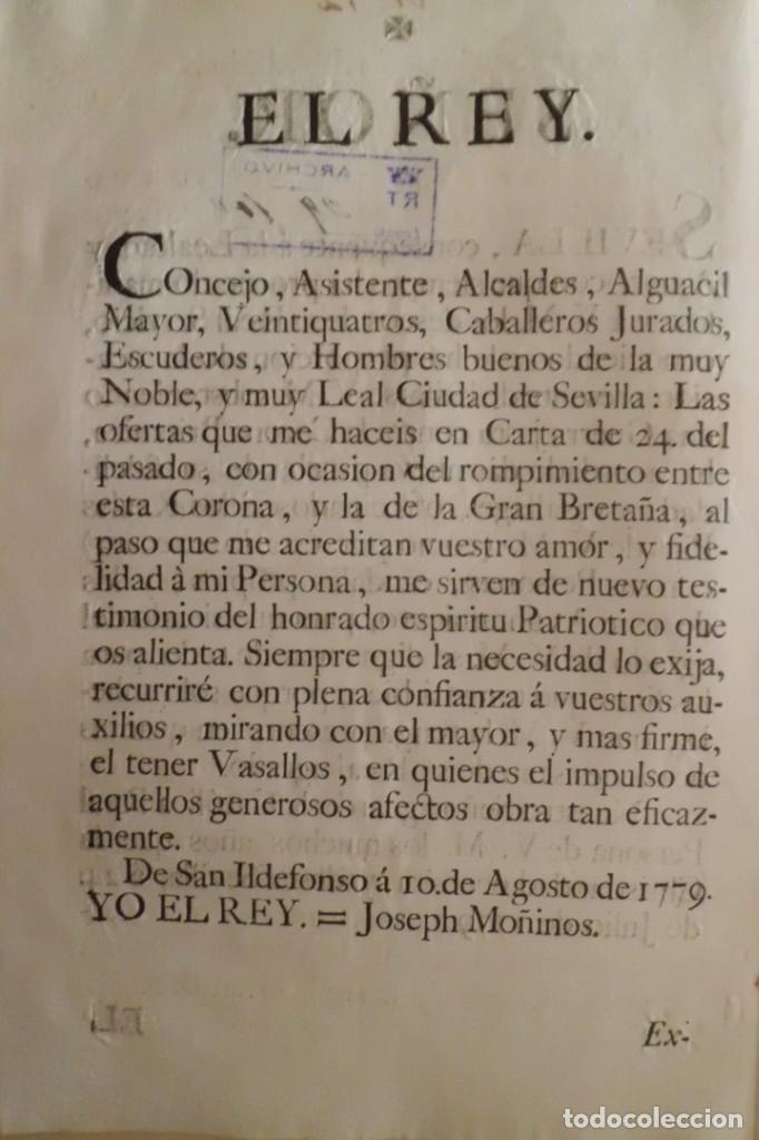 Manuscritos antiguos: SEVILLA SE OFRECE A S.M. CON MOTIVO DE LA GUERRA CONTRA INGLATERRA, AÑO 1.779 - Foto 2 - 204086482