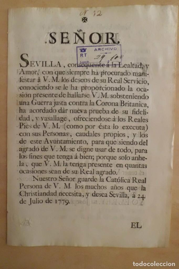 Manuscritos antiguos: SEVILLA SE OFRECE A S.M. CON MOTIVO DE LA GUERRA CONTRA INGLATERRA, AÑO 1.779 - Foto 3 - 204086482