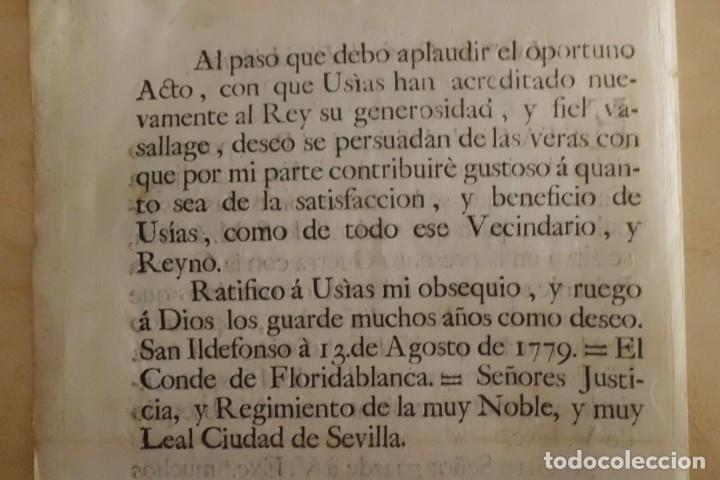 Manuscritos antiguos: SEVILLA SE OFRECE A S.M. CON MOTIVO DE LA GUERRA CONTRA INGLATERRA, AÑO 1.779 - Foto 4 - 204086482