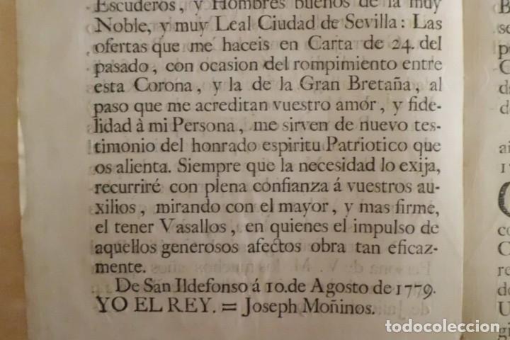 Manuscritos antiguos: SEVILLA SE OFRECE A S.M. CON MOTIVO DE LA GUERRA CONTRA INGLATERRA, AÑO 1.779 - Foto 7 - 204086482