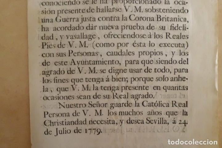 Manuscritos antiguos: SEVILLA SE OFRECE A S.M. CON MOTIVO DE LA GUERRA CONTRA INGLATERRA, AÑO 1.779 - Foto 9 - 204086482