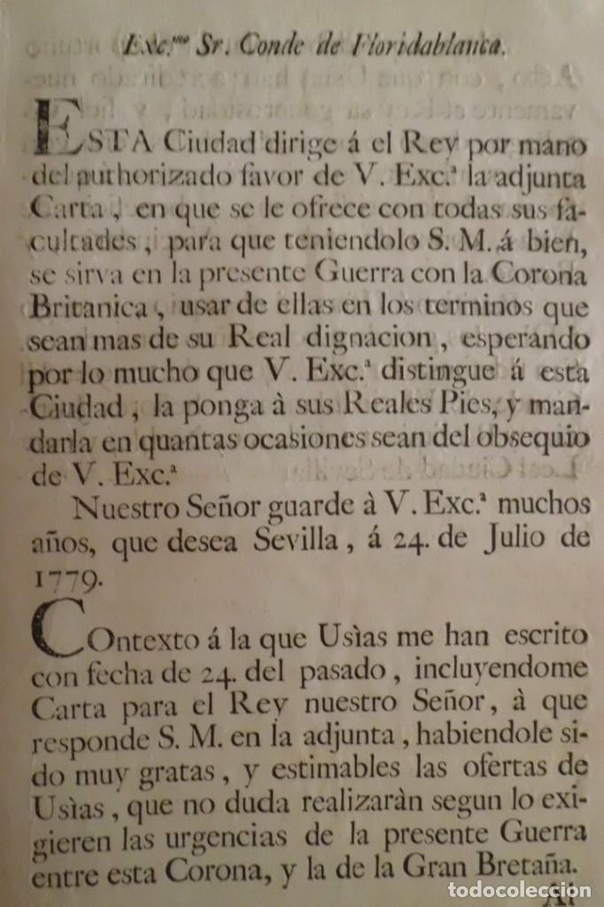 Manuscritos antiguos: SEVILLA SE OFRECE A S.M. CON MOTIVO DE LA GUERRA CONTRA INGLATERRA, AÑO 1.779 - Foto 10 - 204086482