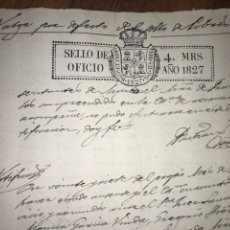 Manuscritos antiguos: 1827. SELLO DE OFICIO CON HABILITACIÓN DE SELLO DE POBRES.. Lote 204176988