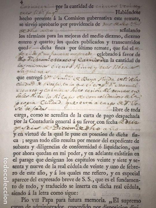 Manuscritos antiguos: MUY RARO. DESAMORTIZACIÓN 1808. BORJA. S. CUARTO LEANDRO FERNANDEZ MORATIN. FINCA DE IGLESIA COLEGIA - Foto 4 - 204189767