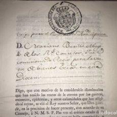 Manuscritos antiguos: MUY RARO. DESAMORTIZACIÓN 1808. BORJA. S. CUARTO LEANDRO FERNANDEZ MORATIN. FINCA DE IGLESIA COLEGIA. Lote 204189767