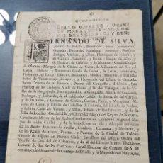Manuscritos antiguos: FERNANDO DE SILVA, DUQUE DE ALBA, NOMBRAMIENTO DE REGIDOR DE LA VILLA ,1755. Lote 204246013