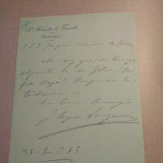 Manuscritos antiguos: CARTA FIRMADA POR EL MINISTRO DE FOMENTO LÓPEZ VERGARA 1895. Lote 204304862