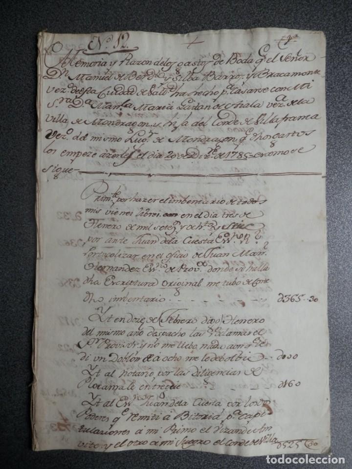 BODA NOBLEZA MANUSCRITO AÑO 1785 MONDRAGÓN VALLADOLID MANUSCRITO GASTOS REALIZADOS (Coleccionismo - Documentos - Manuscritos)