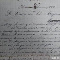 Manuscritos antiguos: CARLISMO HUESCA CARTA DEL CÍRCULO CARLISTA AÑO 1892 INTERESANTE DOCUMENTO DE ESTE MOVIMIENTO. Lote 204538497