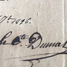 Manuscritos antiguos: CARTA MANUSCRITA Y FIRMADA CONDE DUMAS, GENERAL FRANCÉS. SOBRE TRADUCCIÓN DE SU OBRA A LOS EDITORES.. Lote 204991571