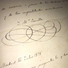 Manuscritos antiguos: CARTA MANUSCRITA Y FIRMADA JOSÉ MARÍA CARULLA. 1878. CARLISMO, IGUALADA, ZUAVOS. Lote 205070810