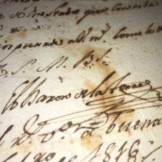 Manuscritos antiguos: CARTA MANUSCRITA Y FIRMADA DEL BARÓN DE LA TORRE. ZARAGOZA 1815. ATECA. GUERRA INDEPENDENCIA. Lote 205073205