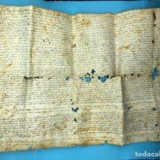 Manuscritos antiguos: MANUSCRITO EN LATÍN SOBRE PERGAMINO AÑO 1600 A NOMBRE PAULUS CABRER .NOTARIO ES DE LLAGOSTERA. Lote 205074141