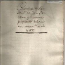 Manuscritos antiguos: ARAGÓN CUENTAS DEL CONDE DE FUENTES MARQUESADI DE MORA OLVA ALCALA MOSQUERUELA 1812. Lote 205528177