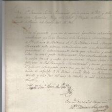 Manuscritos antiguos: PALENCIA 1820 FIRMA OBISPO PARROQUIA BALBUENA SELLO PAPEL. Lote 205528632