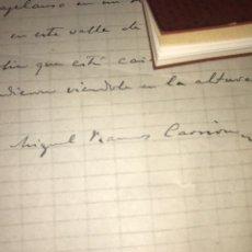 Manuscritos antiguos: POEMA MANUSCRITO FIRMADO POR MIGUEL RAMOS CARRIÓN. ZAMORA. AGUA, AZUCARILLOS YA GUARDIENTE. Lote 205575722