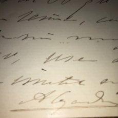 Manuscritos antiguos: ALEJANDRO PIDAL Y MON. CARTA Y FIRMA ORIGINAL, MEMBRETE DIPUTADO VILLAVICIOSA.,. Lote 205578846