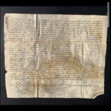Manuscritos antiguos: 1338 - TESTAMENT DE AGNES NERELL - JAUME NERELL - CATALUÑA - PERGAMINO MEDIEVAL - 32X26. Lote 205696793