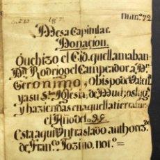 Manuscritos antiguos: FACSÍMIL DEL DOCUMENTO DE DONACIÓN DEL CID A LA IGLESIA DE VALENCIA - RODRIGO DÍAZ DE VIVAR. Lote 205702008