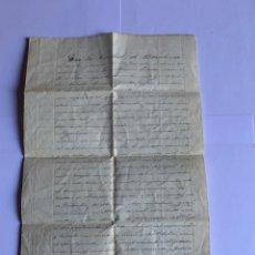 Manuscritos antiguos: DOCUMENTO ORIGINAL MANUSCRITO FECHADO A 1848 (G). Lote 205725255