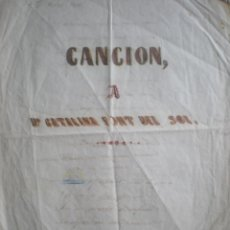 Manuscritos antiguos: CANCIÓN A CATALINA FONT DEL SOL, MANUSCRITO DEL XIX, DE LETRA DE CANCIÓN DEDICADA A CATALINA. Lote 205741537