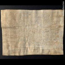 Manuscritos antiguos: 1442 - APOCA EN FAVOR DE JOAN RAMBAU FETA PER JOAN BRUGUERA - PLEITO MEDIEVAL CATALÁN - PERGAMINO -. Lote 205784510