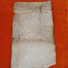 Manuscritos antiguos: PERGAMINO PIEL MANUSCRITO. GRAN TAMAÑO 69*33CM. ORIGINAL. DOCUMENTO DE VENTA Y POSESIÓN. Lote 205802657