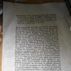 Manuscritos antiguos: ANTIGUO DOCUMENTO - REAL CEDULA FERNANDO VII - AÑO 1814. Lote 205826280