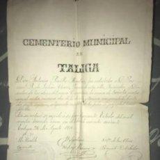 Manuscritos antiguos: ANTIGUO DOCUMENTO MANUSCRITO CEMENTERIO TALIGA BADAJOZ COMPRA NICHO 1914. Lote 205828255
