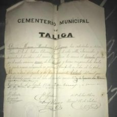 Manuscritos antiguos: ANTIGUO DOCUMENTO MANUSCRITO CEMENTERIO TALIGA BADAJOZ COMPRA NICHO 1914. Lote 205828595