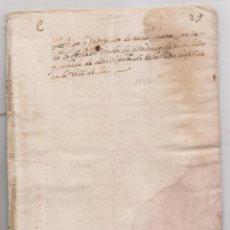 Manuscritos antiguos: TESTIGO Y DEPOSICIÓN DE JUANA CINTA, VIUDA DE DON DIEGO DE REBOREDO. 1592. TEXTO EN CATALÁN. Lote 205862065