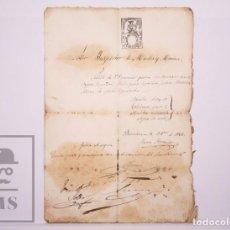 Manuscritos antiguos: ANTIGUO DOCUMENTO MANUSCRITO - PERMISO DE EMBARQUE EN EL VAPOR ESPAÑOL FELIZ ? - AÑO 1866. Lote 205885580