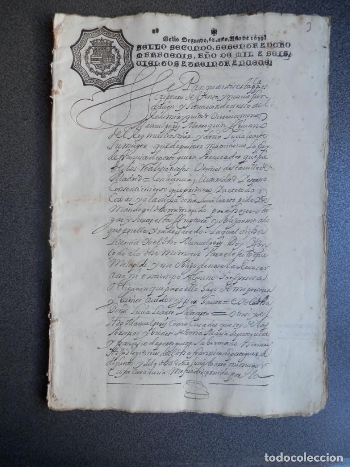 MANUSCRITO AÑO 1639 FISCAL 2º RARO Y LUJO MADRID ESCRITURA VENTA Y CENSO 32 PÁGINAS (Coleccionismo - Documentos - Manuscritos)