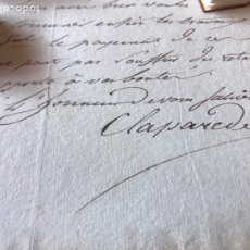 Manuscritos antiguos: CARTA GENERAL CLAPAREDA AL CAPITÁN GENERAL ROCHAMBEAU 1803. MEMBRETE DE LA ARMADA DE SANTO DOMINGO.. Lote 206195978