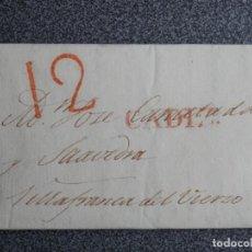 Manuscritos antiguos: PREFILATELIA CARTA CÁDIZ A VILLAFRANCA DEL BIERZO LEÓN AÑO 1831 BONITA PORTEO 12. Lote 206344670
