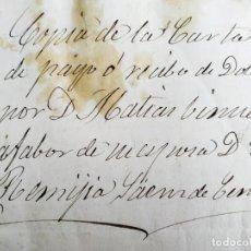Manuscritos antiguos: MANUSCRITO CARTA DOTE MATÍAS VINUESA A R SAENZ CENZANO ( MUEBLES, CUADROS PLATA ROPAS VAJILLAS ). Lote 206370826