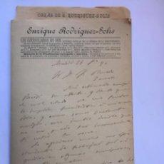 Manuscritos antiguos: 5 CARTAS MANUSCRITAS ENRIQUE RODRIGUEZ SOLÍS DE 1888 A 1900. Lote 206372903