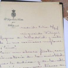 Manuscritos antiguos: CARTA MANUSCRITAS SANTIAGO ALBA DIPUTADO POR VILLALPANDO ZAMORA 1901. Lote 206374273