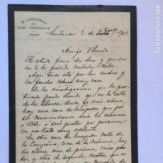 Manuscritos antiguos: CARTA MANUSCRITA DIRECTOR DIARIO EL CANTABRICO SANTANDER 1901 JOSE ESTRANI PRECIOS FONDAS PENSIONES. Lote 206376397