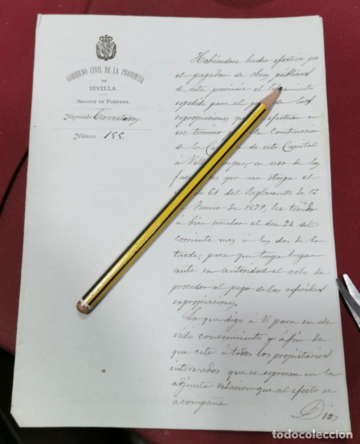 1884, COMUNICACION PAGO EXPROPIACIONES OBRA CARRETERA SEVILLA - VILLAMANRIQUE (Coleccionismo - Documentos - Manuscritos)