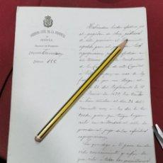 Manuscritos antiguos: 1884, COMUNICACION PAGO EXPROPIACIONES OBRA CARRETERA SEVILLA - VILLAMANRIQUE. Lote 206378117