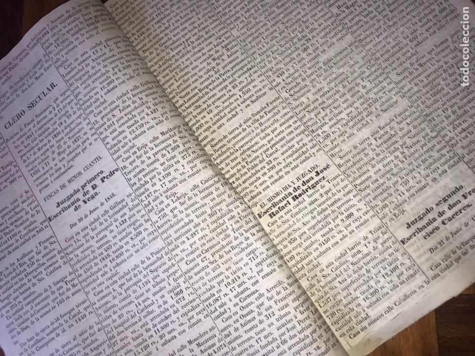 Manuscritos antiguos: 1848 DESAMORTIZACIÓN PROVINCIA DE SEVILLA. ANUNCIO BIENES A SUBASTAR FINCAS NACIONALES. LORA DEL RIO - Foto 2 - 206461525