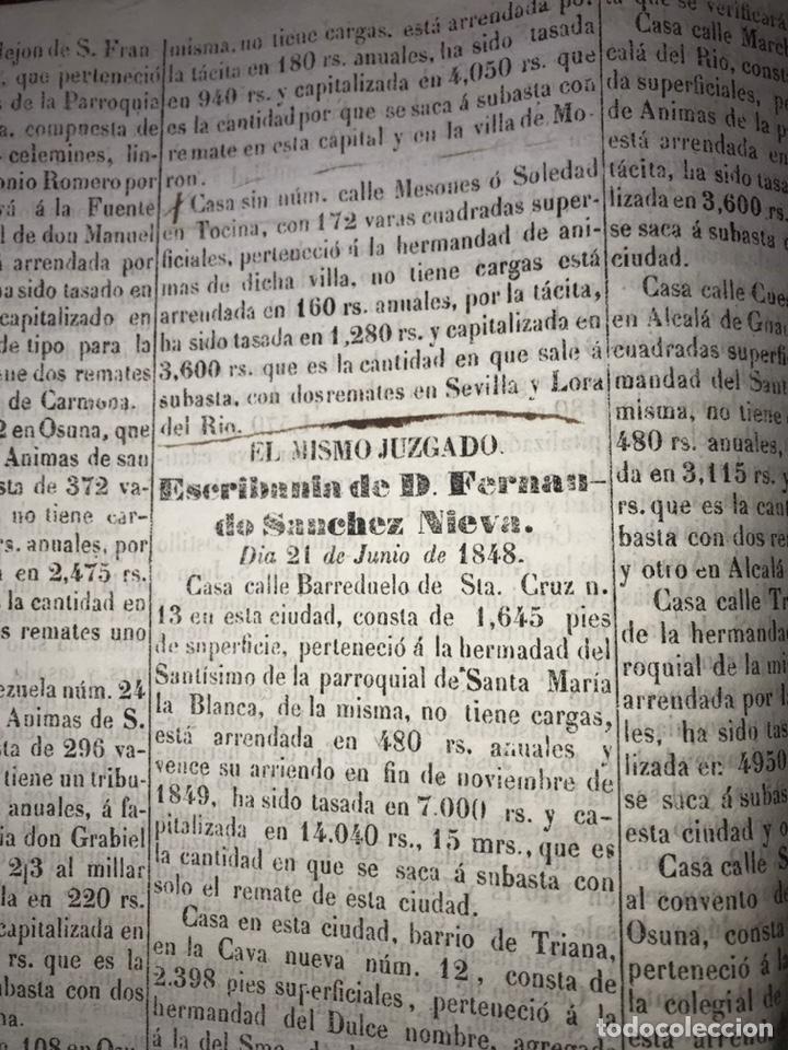 Manuscritos antiguos: 1848 DESAMORTIZACIÓN PROVINCIA DE SEVILLA. ANUNCIO BIENES A SUBASTAR FINCAS NACIONALES. LORA DEL RIO - Foto 3 - 206461525