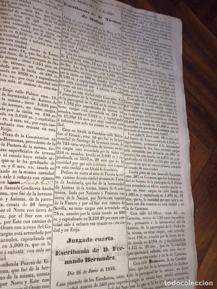 Manuscritos antiguos: 1848 DESAMORTIZACIÓN PROVINCIA DE SEVILLA. ANUNCIO BIENES A SUBASTAR FINCAS NACIONALES. LORA DEL RIO - Foto 4 - 206461525