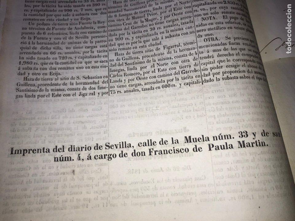 Manuscritos antiguos: 1848 DESAMORTIZACIÓN PROVINCIA DE SEVILLA. ANUNCIO BIENES A SUBASTAR FINCAS NACIONALES. LORA DEL RIO - Foto 5 - 206461525